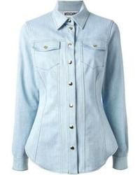 hellblaue Jeansbluse mit knöpfen
