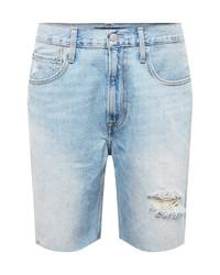 hellblaue Jeansshorts mit Destroyed-Effekten von Calvin Klein