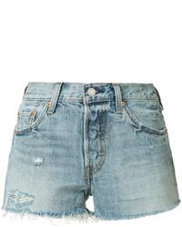 hellblaue Jeansshorts mit Destroyed-Effekten von Levi's