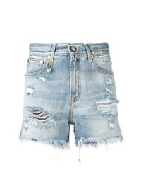 hellblaue Jeansshorts mit Destroyed-Effekten von R13