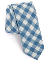hellblaue Krawatte mit Karomuster