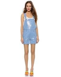 hellblaue kurze Latzhose aus Jeans von Moschino