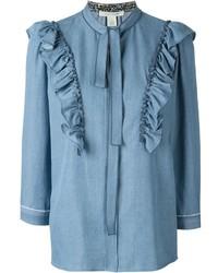 hellblaue Langarmbluse mit Rüschen von Marc Jacobs