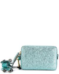 hellblaue Leder Clutch von Anya Hindmarch