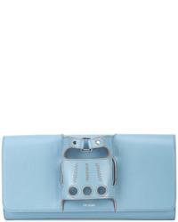 hellblaue Leder Clutch von Perrin Paris