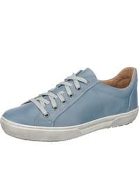 hellblaue Leder niedrige Sneakers von Double You
