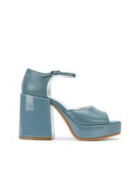 hellblaue Leder Sandaletten von MM6 MAISON MARGIELA