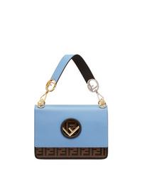 hellblaue Lederhandtasche von Fendi