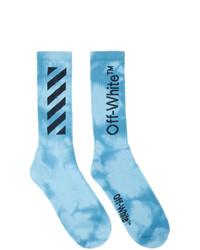 hellblaue Mit Batikmuster Socken von Off-White