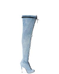 hellblaue Overknee Stiefel aus Jeans von Balmain