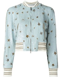 hellblaue Paillette Bomberjacke mit Sternenmuster von Valentino