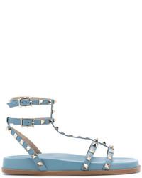 hellblaue Römersandalen aus Leder von Valentino
