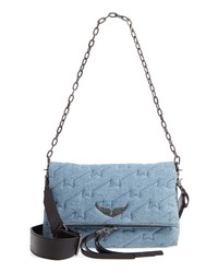 hellblaue Satchel-Tasche aus Segeltuch
