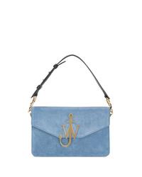 hellblaue Satchel-Tasche aus Wildleder