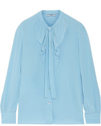 hellblaue Seide Bluse mit Rüschen von Prada