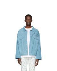 hellblaue Shirtjacke aus Wildleder