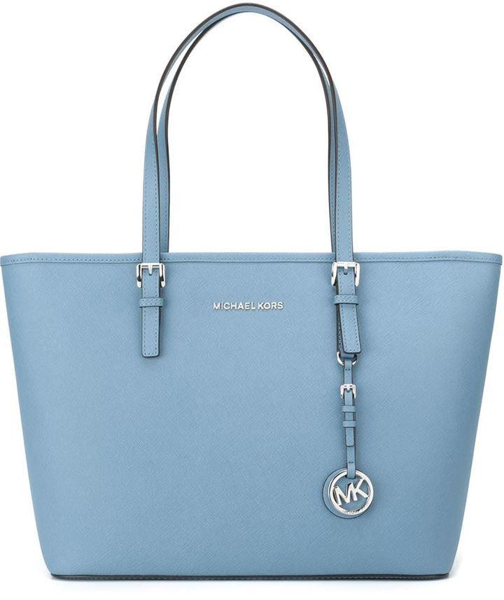 a076f6c076879 ... hellblaue Shopper Tasche aus Leder von MICHAEL Michael Kors