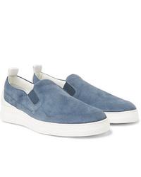 hellblaue Slip-On Sneakers aus Wildleder von Dunhill