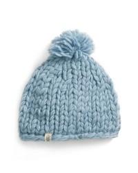 hellblaue Strick flauschige Mütze