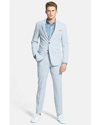 hellblaue vertikal gestreifte Anzughose aus Seersucker