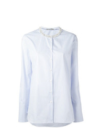 hellblaue vertikal gestreifte Bluse mit Knöpfen von Ermanno Scervino