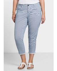 hellblaue vertikal gestreifte enge Jeans von SHEEGO CASUAL