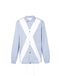 hellblaue vertikal gestreifte Shirtjacke von Comme Des Garcons SHIRT
