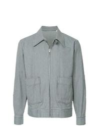 hellblaue vertikal gestreifte Shirtjacke von Kent & Curwen