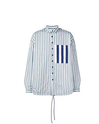 hellblaue vertikal gestreifte Shirtjacke von Sunnei