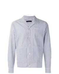 hellblaue vertikal gestreifte Shirtjacke von The Gigi