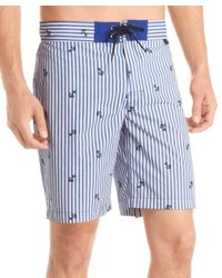 hellblaue vertikal gestreifte Shorts