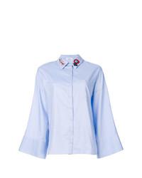 hellblaue verzierte Bluse mit Knöpfen von Dondup