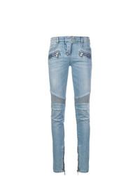 hellblaue verzierte enge Jeans von Balmain