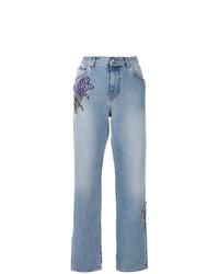 hellblaue verzierte Jeans von Alexander McQueen