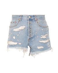 hellblaue verzierte Jeansshorts von Gucci