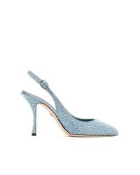 hellblaue verzierte Leder Pumps von Dolce & Gabbana