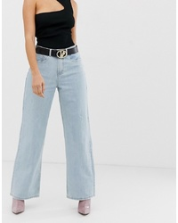 hellblaue weite Hose aus Jeans von Missguided