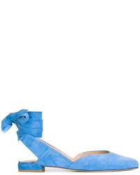 hellblaue Wildleder Ballerinas von Stuart Weitzman