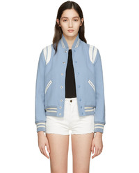hellblaue Wollbomberjacke von Saint Laurent