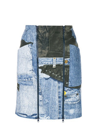 hellblauer bedruckter Midirock aus Jeans von Christian Dior Vintage