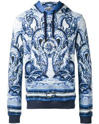 hellblauer bedruckter Pullover mit einem Kapuze