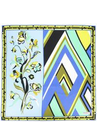 hellblauer bedruckter Seideschal von Emilio Pucci
