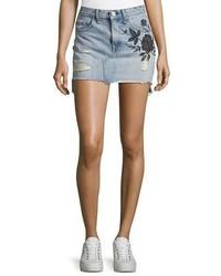 hellblauer bestickter Jeans Minirock