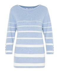 hellblauer horizontal gestreifter Pullover mit einem Rundhalsausschnitt von Hajo