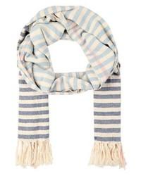 hellblauer horizontal gestreifter Schal von Ichi