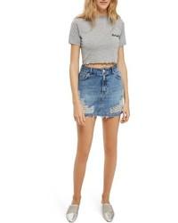 hellblauer Jeans Minirock mit Destroyed-Effekten