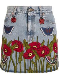 hellblauer Jeans Minirock von Gucci