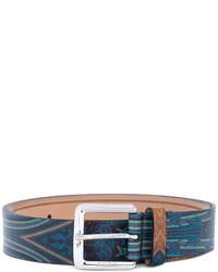 hellblauer Ledergürtel mit Paisley-Muster von Etro