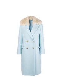 hellblauer Mantel mit einem Pelzkragen von Ermanno Scervino