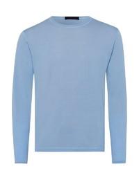 hellblauer Pullover mit einem Rundhalsausschnitt von Falke